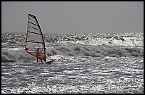 Windsurfer on silvery ocean, Waddell Creek Beach. California, USA