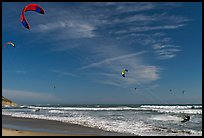 Kite surfers and coastline, Waddell Creek Beach. California, USA