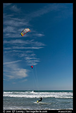 Kite surfers, waves, and ocean, Waddell Creek Beach. California, USA