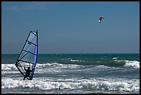 Windsurfer and kitesurfer, Waddell Creek Beach. California, USA ( color)