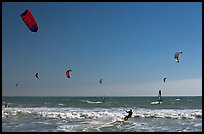 Kite surfing and wind surfing, Waddell Creek Beach. California, USA