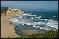 Beach and kite surfers from above, Scott Creek Beach. California, USA