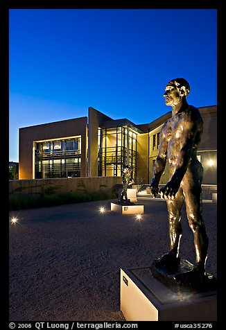 Rodin sculpture and Cantor Museum at night. Stanford University, California, USA