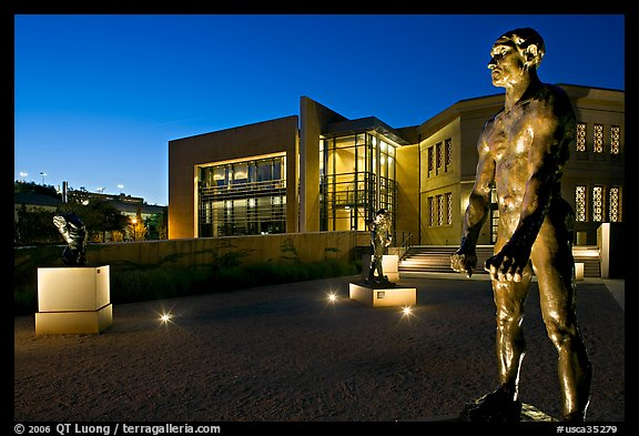 Rodin sculptures and Cantor Art Museum at night. Stanford University, California, USA (color)