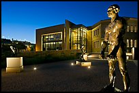 Rodin sculptures and Cantor Art Museum at night. Stanford University, California, USA