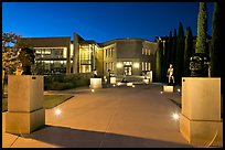 Cantor Art Center at night with Rodin sculpture garden. Stanford University, California, USA (color)