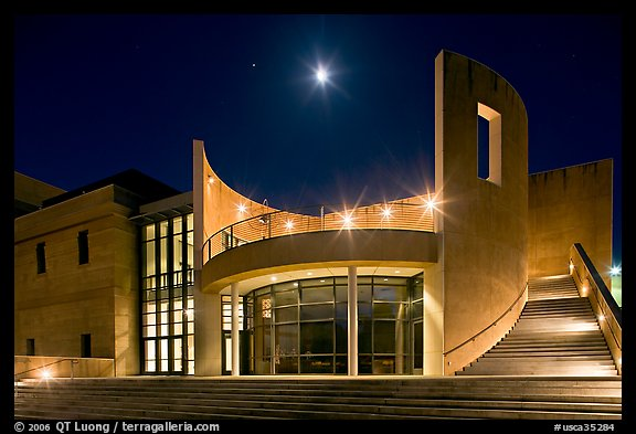 Iris and  Gerald Cantor Center for Visual Arts at night with moon. Stanford University, California, USA (color)