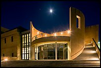 Iris and  Gerald Cantor Center for Visual Arts at night with moon. Stanford University, California, USA