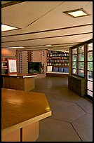 Library, Hanna House, a Frank Lloyd Wright masterpiece. Stanford University, California, USA (color)