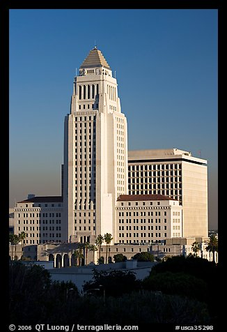 Los Angeles City Hall in Art Deco style. Los Angeles, California, USA