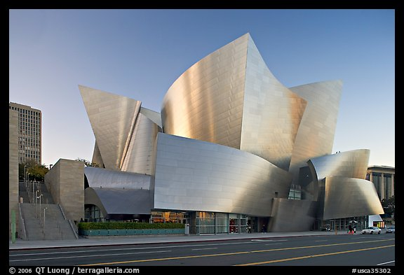 Walt Disney Concert Hall, designed by Frank Gehry, late afternoon. Los Angeles, California, USA (color)