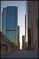 Skyscrapers along Grand Avenue, late afternon. Los Angeles, California, USA