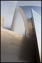 Shiny steel surfaces of the new Walt Disney Concert Hall. Los Angeles, California, USA