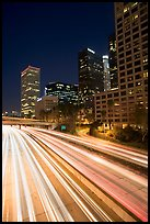 Harbor Freeway and skyline at nightfall. Los Angeles, California, USA (color)