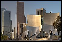 Walt Disney Concert Hall and high rise towers. Los Angeles, California, USA