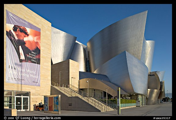 LA Philarmonic sign and concert hall, early morning. Los Angeles, California, USA (color)
