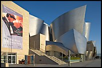 LA Philarmonic sign and concert hall, early morning. Los Angeles, California, USA