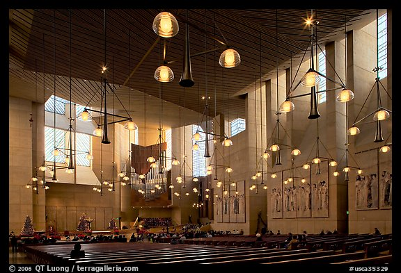 Main nave of the Cathedral of our Lady of the Angels. Los Angeles, California, USA (color)