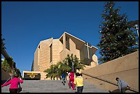Families climbing stairs towards Cathedral of our Lady of the Angels. Los Angeles, California, USA ( color)