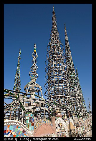 Overview of the Watts Towers. Watts, Los Angeles, California, USA (color)