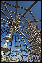 Gazebo and tower, Watts Towers. Watts, Los Angeles, California, USA (color)