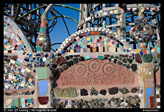 Detail of Watts Towers, built over the course of 33 years by Simon Rodia. Watts, Los Angeles, California, USA (color)