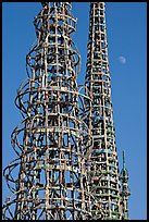 Watts towers and moon. Watts, Los Angeles, California, USA ( color)