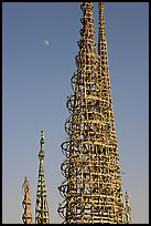 Simon Rodia Watts Towers and moon, late afternoon. Watts, Los Angeles, California, USA ( color)
