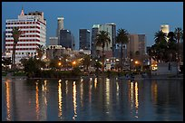 Mc Arthur Park and skyline, dusk. Los Angeles, California, USA