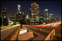 Bridge, Harbor Freeway, and skyline at night. Los Angeles, California, USA (color)