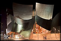 Entrance of the Walt Disney Concert Hall at night. Los Angeles, California, USA