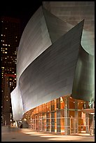 Walt Disney Concert Hall at night. Los Angeles, California, USA