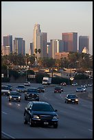 Freeway and skyline, early morning. Los Angeles, California, USA