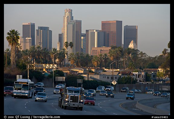 Traffic on freeway and skyline, early morning. Los Angeles, California, USA (color)
