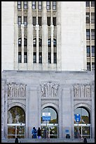 Art Deco facade of the Los Angeles County Hospital. Los Angeles, California, USA (color)