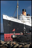 Queen Mary and Scorpion submarine. Long Beach, Los Angeles, California, USA (color)