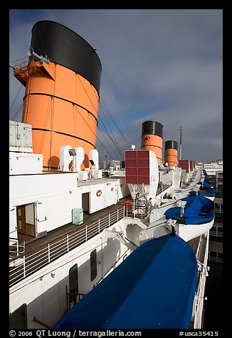 Smokestacks and liferafts, Queen Mary. Long Beach, Los Angeles, California, USA (color)