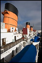 Smokestacks and liferafts, Queen Mary. Long Beach, Los Angeles, California, USA