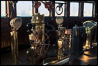 Boat bridge with navigation instruments, Queen Mary. Long Beach, Los Angeles, California, USA