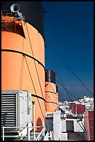Smokestacks and air vents, Queen Mary. Long Beach, Los Angeles, California, USA (color)