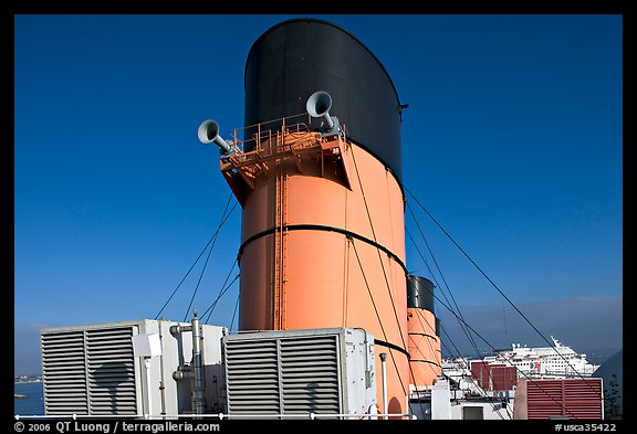 Chimneys and air input grids on the Queen Mary liner. Long Beach, Los Angeles, California, USA (color)