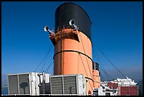 Chimneys and air input grids on the Queen Mary liner. Long Beach, Los Angeles, California, USA ( color)