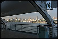 Skyline of Long Beach, seen from the deck of the Queen Mary. Long Beach, Los Angeles, California, USA (color)