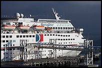 Cruise ship being boarded. Long Beach, Los Angeles, California, USA (color)
