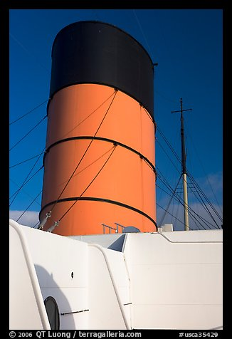 Smokestack, Queen Mary. Long Beach, Los Angeles, California, USA