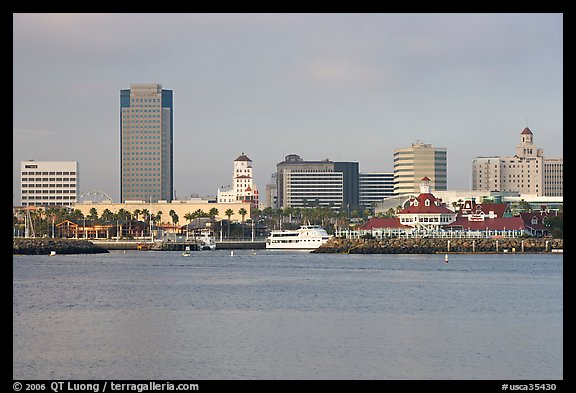 Skyline, late afternoon. Long Beach, Los Angeles, California, USA