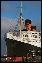 Queen Mary and Russian Submarine. Long Beach, Los Angeles, California, USA (color)