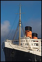 Queen Mary cruise ship. Long Beach, Los Angeles, California, USA (color)