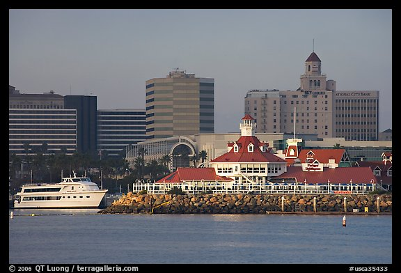 Parkers Lighthouse And Skyline Long Beach Los Angeles California Usa