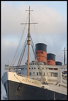 Queen Mary ship at sunset. Long Beach, Los Angeles, California, USA (color)
